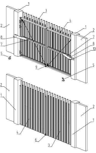 1 - столб проема; 2 - забор; 3,4 - створки ворот; 5 - боковой упор; 6 - центральный упор; 7 - кронштейн электропривода; 8 - электропривод; 9 - засов; 10 - крепление электропривода к столбу проема